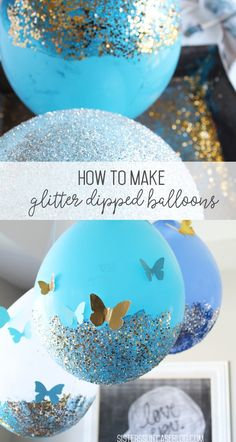 Here is the highly requested tutorial for my glitter dipped balloons! Since my d. , Here is the highly requested tutorial for my glitter dipped balloons! Since my daughter's Sleeping Beauty birthday party two years ago, they have be. Butterfly Birthday Party, Glitter Birthday, Birthday Crafts, Birthday Balloons, Unicorn Birthday, Birthday Party Decorations, Girl Birthday, Birthday Parties, Glitter Party Decorations
