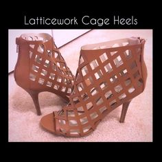 NWOT Tan Lattice Cage Heels. Fits Sz 7/8 NWOT Tan Lattice Cage Heels. Sz 7/8. These are Brand new-Never Worn but WITHOUT tags. Shoes Ankle Boots & Booties
