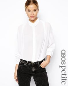 ASOS PETITE Shirt with Pleat Front and Batwing Sleeve
