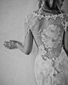 Lace Back Wedding Dresses - Bloom in this whimsical and ethereal lace wedding dress creation! Beautiful silver flowers are embroidered on the tulle back with cap sleeves. #Lace #Wedding #Dress #Gown #Back