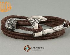 Silver Plated Axe and Skull Bracelet Wristband With Axe Bracelet With Axe Viking's Axe Viking Jewelry Slavic Axe Perun's Axe Skull Bracelet, Skull Jewelry, Ring Bracelet, Jewellery, Vikings, Viking Jewelry, Bracelet Sizes, Bracelets For Men, Leather Men