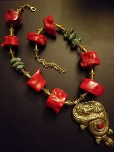 Coral Turquoise Ethnic Statement Necklace Tibetan Brass Dragon