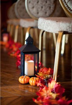 Fall wedding ceremony decor // image by Rebekah Hoyt Photography
