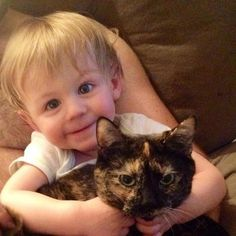 Family takes in tortie cat while expecting a baby, now the cat and little boy are inseparable