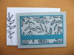 Maureen Rootes - mo@crafty-rootes.co.uk - Stampin Up Lighthearted Leaves stamped in Archival Basic Black onto Smoky Slate cardstock and coloured in using Island Indigo marker and a Signo Uniball gel pen