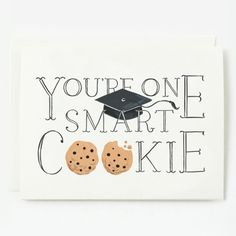 Graduation Card - Smart Cookie x , Blank folded card Printed full color on cotton cardstock Individually branded and packed with envelope Printed in the USA Graduation Theme, Preschool Graduation, Graduation Cards, Graduation Ideas, One Smart Cookie, Vintage Paper Dolls, Vintage Party, Grad Parties, Paper Goods