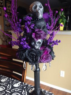 another wicked beauty I created w n… Halloween Gothic Skull Floral Centerpiece….another wicked beauty I created. Purple Halloween, Theme Halloween, Outdoor Halloween, Halloween House, Holidays Halloween, Baby Halloween, Halloween Crafts, Halloween Skull, Happy Holloween