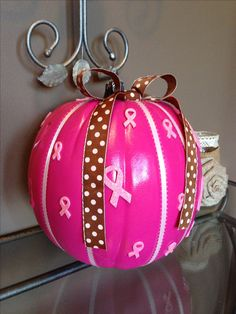 Another adorable pink ribbon pumpkin! Breast Cancer Walk, Breast Cancer Survivor, Breast Cancer Awareness, Pink Pumpkin Party, Breast Cancer Inspiration, Pink Pumpkins, Pink Power, A 17, Movember
