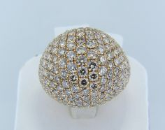Yellow gold and Diamond dome cocktail ring