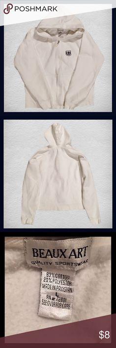 ‼️🎉SUNDAY SALE🎉‼️BEAUX ART Zip Up Hoodie Gently used BEAUX ART white zip up hoodie; Size Large.    ***** BUNDLE AND SAVE***** Tops Sweatshirts & Hoodies