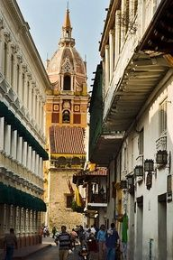 The Cathedral, Cartagena, Colombia, seen through old Spanish colonial balconies. Cartagena de Indias was founded on 1 June 1533 by Spanish commander Pedro de Heredia, in the former location of the indigenous Caribbean Calamarí village. The town was named after Cartagena, Spain, where most of Heredia's sailors came from. ©Michael Freeman
