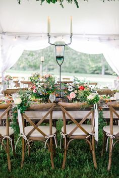 bride and groom chairs tied with ribbon and flowers, farm table, muted fall color tablescape, crossback chairs, candelabra centerpiece Candelabra Centerpiece, Centerpieces, Table Decorations, Ocean Cakes, Chair Ties, Home Wedding, Wedding Ideas, Wedding Coordinator, Nice View