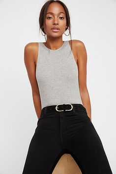 Intimately So It Goes Bodysuit Ribbed Bodysuit, Going Gray, Wardrobe Basics, Fashion Beauty, Fashion Tips, Heather Grey, What To Wear, Free People, Cute Outfits