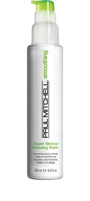 Super Skinny® Relaxing Balm  Smoothes and Controls    Helps smooth and control hair. Helps hair dry faster, fights frizz and delivers incredible memory. Leaves even the most rebellious locks shiny and manageable.  Our exclusive Super Skinny®Complex displaces water and constricts hair to help speed up drying and styling. #paulmitchell #hair #hairproduct #hairdresser #crueltyfree #smoothing