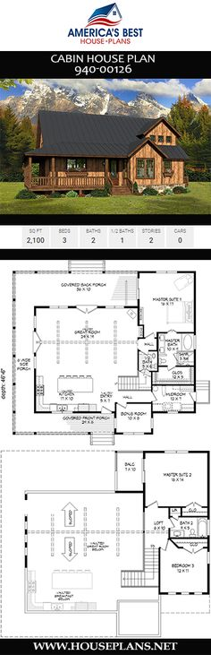 Check out Plan a Cabin house plan designed with sq., 3 bedrooms, 2 bathrooms, an amazing wrap around porch, and two master bedrooms. Cabin House Plans, Best House Plans, Dream House Plans, Small House Plans, House Floor Plans, Modern Architecture House, Futuristic Architecture, Modern Houses, Home Design Plans