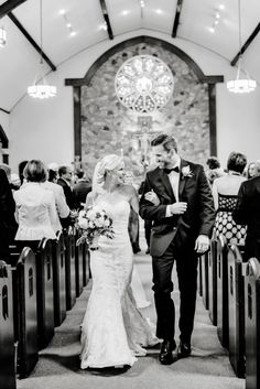 St Mary's Church: Black and White wedding photo | Husband and wife walking down the aisle with pure joy in their hearts | Black Tie Bride, photos by Jessica Lee Photography www.jessicaleephoto.com
