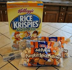 Pumpkin Rice Krispies Treats 3 Tablespoons butter or margarine1 & 1/2 packages of Pumpkin Spiced Marshmallows6 cups Rice Krispies cereal