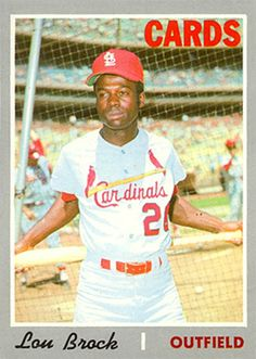 1970 Topps Lou Brock St Louis Baseball, Baseball Star, Baseball Players, Baseball Card Values, Old Baseball Cards, Cardinals Baseball, St Louis Cardinals, St Louis Mo, Black Image