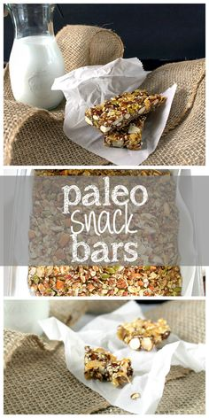 Don't buy expensive granola bars full of sugar and preservatives!  Make your own from healthy nuts, seeds, and honey! Paleo Snack Bars | taketwotapas.com
