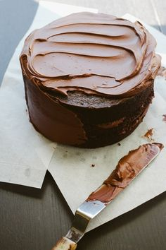 Chocolate Cake with Bittersweet Sour Cream Frosting | notwithoutsalt.com