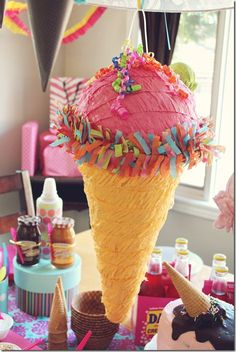 Ice cream party decorations = J says she wants a pinata at her next birthday. I never know how to handle that inside the house. Ice Cream Art, Ice Cream Theme, Cream Decor, For Elise, Ice Cream Social, Birthday Party Decorations, Birthday Ideas, Gelato, First Birthdays