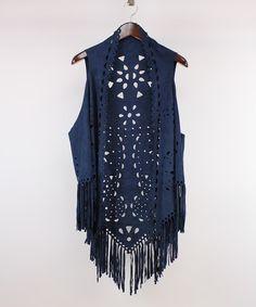 Love this Navy Geometric Cutout Fringe Vest on #zulily! #zulilyfinds