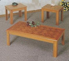 3pc Oak Veneer Wood Parquet Top Coffee 2 End Tables Set Part No 5168 -- You can find more details by visiting the image link.