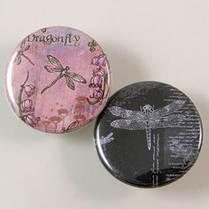 Dragonfly Pinback Button Set by XOHandworks $3