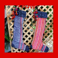Ethnic Christmas Stockings in Hmong by SiameseDreamDesign on Etsy, $24.00