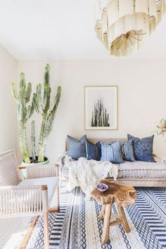 Large Indoor Cactus Living Room Decor Blue, Bench In Living Room, Living  Room With
