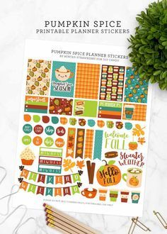 Grab this free planner printable featuring your favorite pumpkin spice! These stickers are perfect for autumn and fits a variety of planner types like Happy Planner, Erin Condren, Bullet Journal and more. Planner Free, Planner Pages, Happy Planner, Planner Ideas, Planner Layout, Planner Diy, Planner Inserts, Holiday Planner, Passion Planner