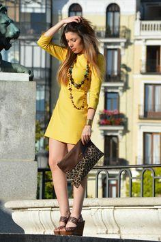 yellow dress zara , cuple clutch