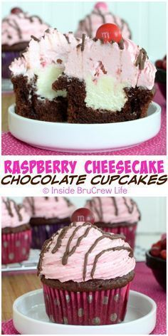 Raspberry Cheesecake Chocolate Cupcakes - these are SO not good for me, but I'm going to eat one anyway... :D