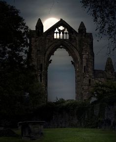 Moonlight at the priory, Guisborough / England (by Yorkshire Sam).