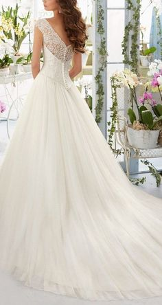 This Gorgeous Lace Wedding Dress provide an elegant sweetheart a line design decorate with distinct appliques and cap sleeves. It's your best option to experience a wedding ceremony that you'll cherish for your whole life. More at http://www.cutedresses.co/product/simple-long-a-line-cap-sleeve-train-lace-wedding-dresses/ M