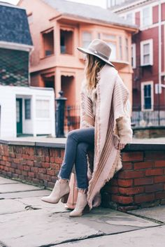 Gray Skinny Jeans, Blush Blanket Scarf, Chinese Laundry Zane Booties styled by Jess Kirby