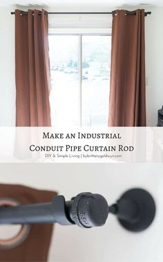 A $2 curtain rod that's strong, up to 10 feet, and looks good? Yes! Check it out and learn how to make one with pipe caps like this one   pipe curtain rod, conduit curtain rod