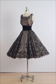 1950's Rhinestone Flocked Dress