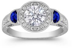 #mdcdiamonds.com          #ring                     #Engagement #Ring #Round #Diamond #Halo #Engagement #ring #blue #sapphire #Half #moon #side #stones #White #Gold #ES853BRWG       Engagement Ring - Round Diamond Halo Engagement ring blue sapphire Half moon side stones in 14K White Gold - ES853BRWG                                      http://www.seapai.com/product.aspx?PID=827046