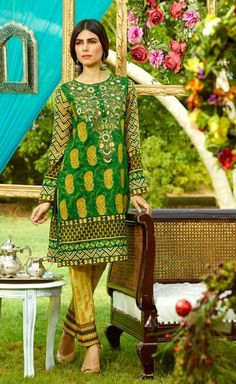 Shirt: Fabric: Embroidered Front, Printed Back with Sleeves Shalwar/Trousers: Fabric: Printed Trouser.