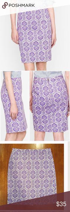"J. Crew purple paisley ""No. 2"" pencil skirt Cream background with beautiful, or Nate, purple paisley print. Small slit at knees, and back. Hidden back zipper with hook and eye closure. 100% cotton. J. Crew Skirts"
