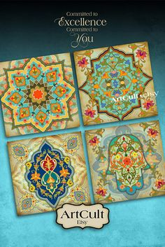 MOROCCAN COASTERS - Digital Collage Sheet Printable oriental 3.8x3.8 inch size Images for paper craft