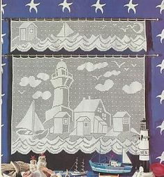 Free Filet Crochet Curtain Patterns | Filet Crochet Pattern Lighthouse Valance Curtain Nautical Scene | eBay