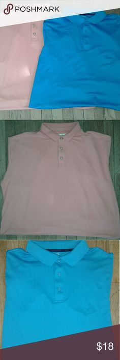 Pair of Men's XL Polo Shirts Blue/Peach Pair of XL Men's Polo Shirts. Blue Shirt by George XL 46- 48 w/Polyester & Spandex Blend. Peach Shirt is by Jamaica Jaxx XL w/Modal & Polyester Blend. Both Shirts are Preowned in Good Condition. No Holes or Stains. George&Jamaica Jaxx  Shirts Polos