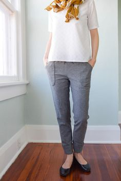 Moji Pants designed by Seamwork. Features Euclid by Carolyn Friedlander, shipping to stores August 2016. #euclidfabric