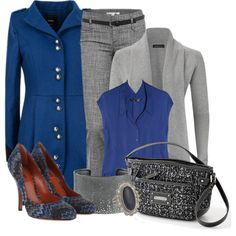 Pants Outfit---love the blue coat Grey Fashion, Work Fashion, Fashion Pants, Winter Fashion, Fashion Outfits, Womens Fashion, Style Fashion, Pretty Outfits, Cute Outfits