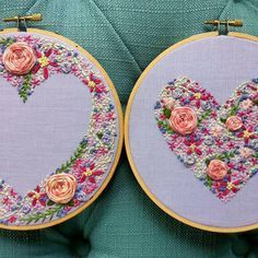 Wonderful Ribbon Embroidery Flowers by Hand Ideas. Enchanting Ribbon Embroidery Flowers by Hand Ideas. Embroidery Hearts, Learn Embroidery, Silk Ribbon Embroidery, Modern Embroidery, Embroidery Hoop Art, Cross Stitch Embroidery, Embroidery Patterns, Flower Embroidery, Cross Stitching