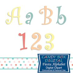 Curly Fiesta Party Alphabet Clipart by CandyBoxDigital. Great alphabet clip art for digital scrapbooks and journals, blogs and websites, graphic designs, invitations, and all kinds of paper craft applications. At our Etsy shop.