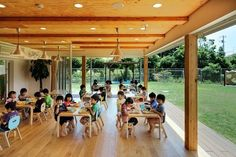 In order to accept the child in the expansion of residential areas progresses, this is a newly built wooden nursery. The site is blessed with sunny place and. Kindergarten Interior, Kindergarten Design, Primary School, Elementary Schools, English Center, Alternative Education, Kids Cafe, Nursery School, Small Places