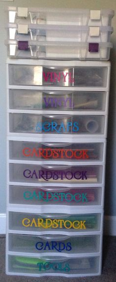 "My vinyl labeled/organized Cricut storage items. Used my Botanicals ""Font"" Cartridge."